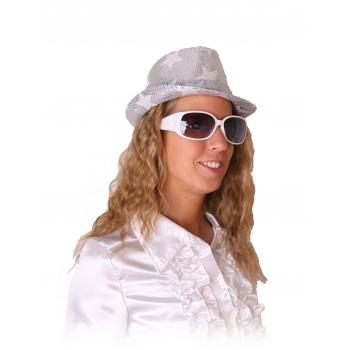 Witte feestbril met glitters