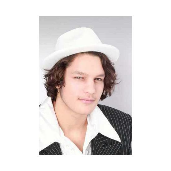 Witte trendy kojak hoed