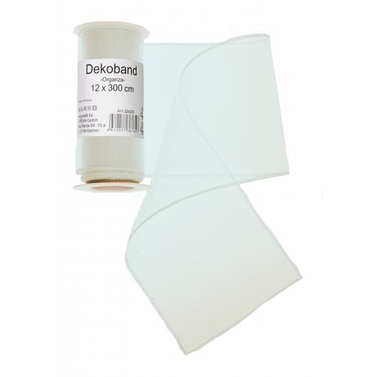 Witte organza strook 12 x 300 cm