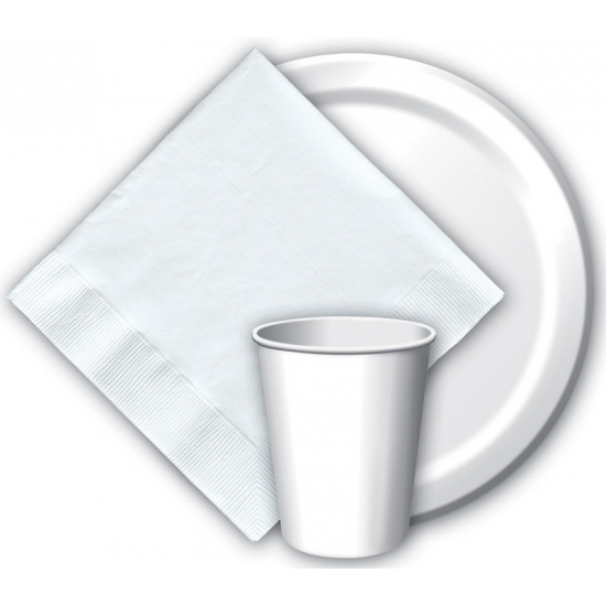 Witte papieren bekertjes 8 stuks