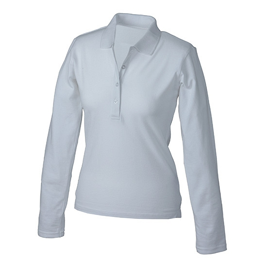 Witte stretch poloshirt voor dames