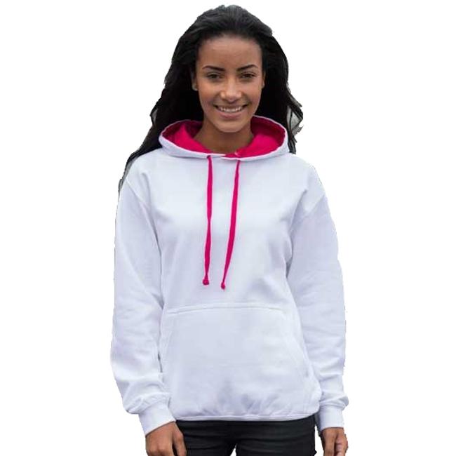 Witte sweater met roze capuchon voor dames