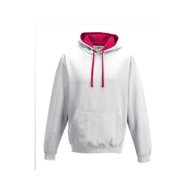 Witte sweater met roze capuchon voor heren