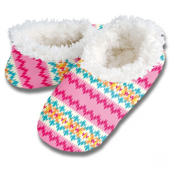 Zachte winter pantoffels zigzag print