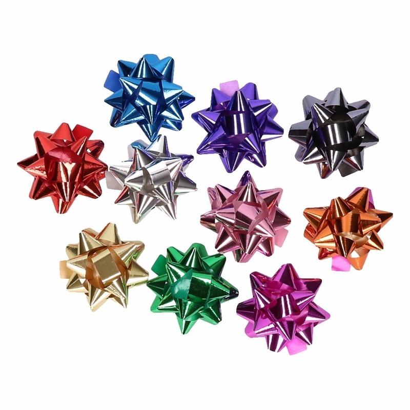 Zakje met 10 metallic gekleurde strikjes
