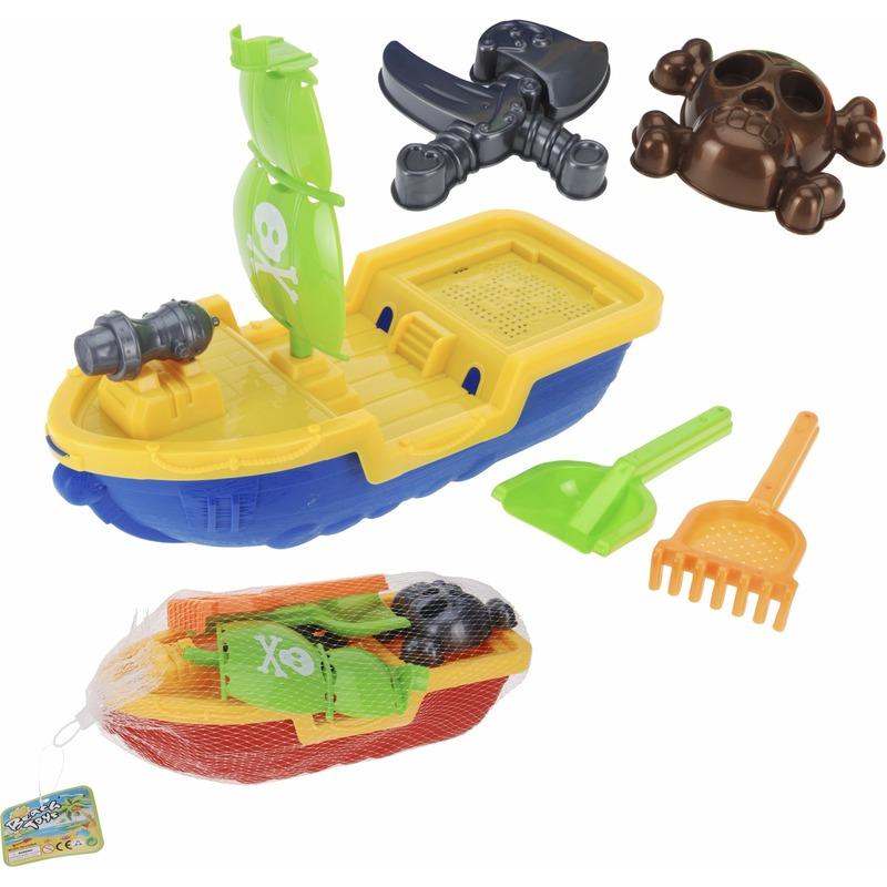 Zand speelgoed piratenschip blauw 40 cm