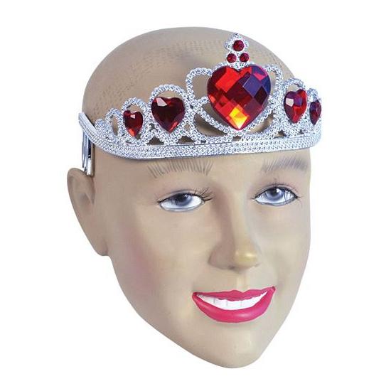 Zilveren tiara met rode stenen