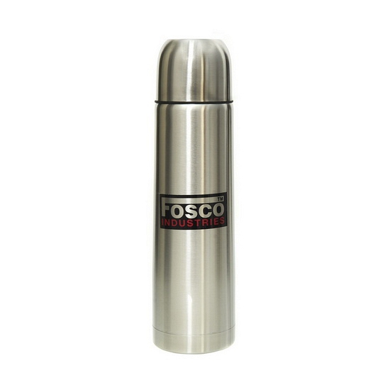 Zilverkleurige thermosfles 1 liter