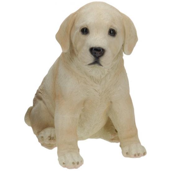 Zittende Labrador puppy van polystone 23 cm