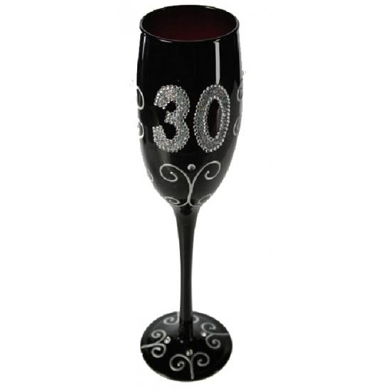 Zwart champagne glas 30 jaar