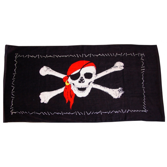 Zwart piraten strandlaken 75 x 150