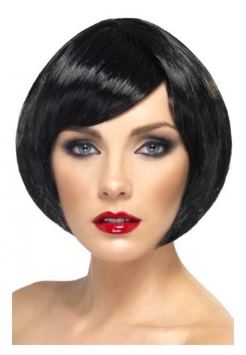 Zwarte damespruik kort haar