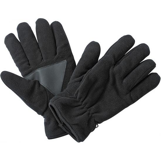 Zwarte fleece handschoenen met antislip