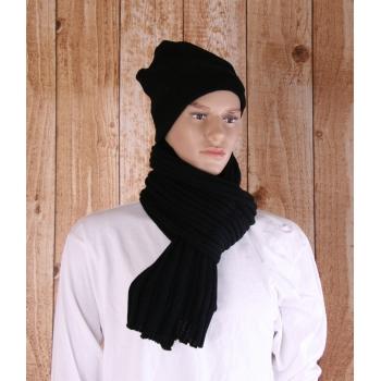 Zwarte gebreide sjaal 176 cm