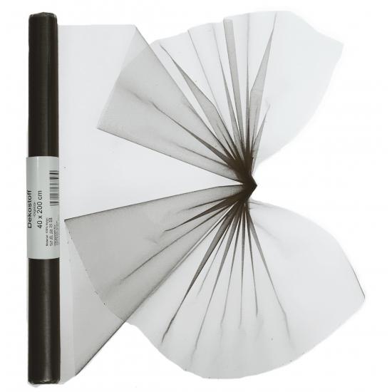 Zwarte organza stof op rol 40 x 200 cm