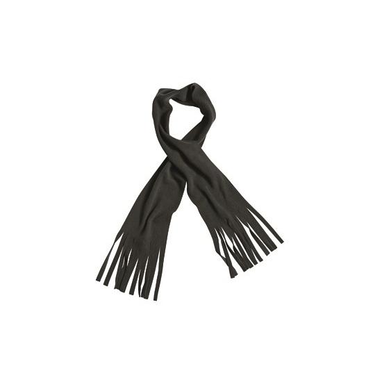 Zwarte winter fleece sjaal met franjes