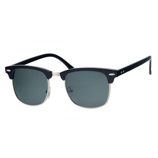 Zwarte zonnebril Clubmaster met groene glazen