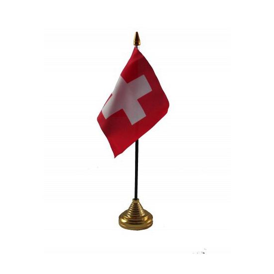 Zwitserland tafelvlaggetje inclusief standaard
