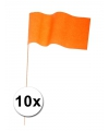 10 oranje papieren zwaaivlaggetjes