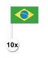 10 zwaaivlaggetjes brazilie 12 x 24 cm