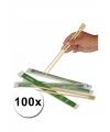 100 paar eetstokjes van bamboe hout