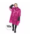 10x wegwerp regenponcho roze