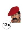 12 franse baretten rood