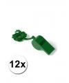 12 groene fluitjes aan koord