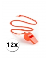12 oranje fluitjes aan koord