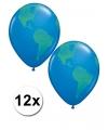 12 wereldbol ballonnen 40 cm