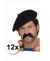 12 zwarte franse baretten luxe