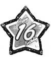 16 jaar folieballon zwart zilver