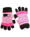 2 in 1 meisjes handschoenen fuchsia zwart