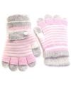 2 in 1 meisjes handschoenen lichtroze grijs
