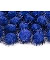 20 kobalt blauwe knutsel pompons 20 mm