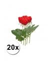 20 rode rozen 35 cm kunstbloemen