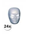 24 witte blanco maskers heren gezicht