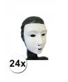 24 witte grimeer maskers met kalklaag