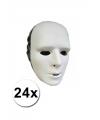 24 witte grimeer maskers van plastic