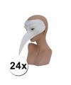 24 witte venetiaanse snavelmaskers