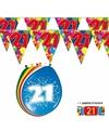 2x 21 jaar vlaggenlijn ballonnen