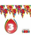 2x 3 jaar vlaggenlijn ballonnen