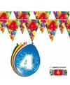 2x 4 jaar vlaggenlijn ballonnen