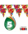 2x 5 jaar vlaggenlijn ballonnen