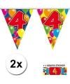 2x vlaggenlijn 4 jaar met gratis sticker
