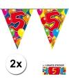 2x vlaggenlijn 5 jaar met gratis sticker
