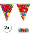 2x vlaggenlijn 75 jaar met gratis sticker