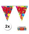 2x vlaggenlijn 95 jaar met gratis sticker