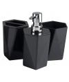 3 delige badkamer set zwart 25 cm