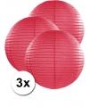 3 fuchsia roze lampionnen 50 cm